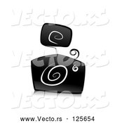 Vector of Ornate Black and White Camera Design with Swirls by BNP Design Studio