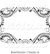 Vector of Ornate Black Leafy Vines Around White Copyspace Background Border Design by BestVector