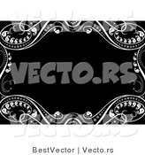 Vector of Ornate Border Featuring White Leafy Vines Around Black Copyspace by BestVector