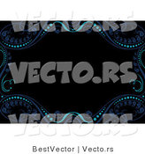 Vector of Ornate Border of Blue Leafy Vines Around Black Copyspace by BestVector