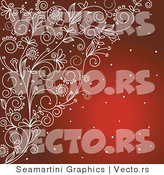 Vector of Ornate Etched Floral Vines over Red Background with Snow by Vector Tradition SM