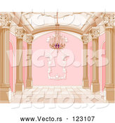 Vector of Ornate Pink and Gold Palace Interior with a Chandelier by Pushkin