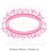 Vector of Ornate Pink Oval Floral Frame with Blank Copyspace by Cherie Reve