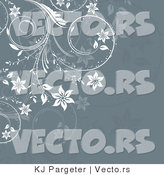 Vector of Ornate White Floral Vines over Green Gray Background Design by KJ Pargeter