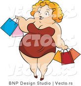Vector of Overweight Girl Carrying Shopping Bags by BNP Design Studio