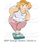 Vector of Overweight Girl Standing on a Scale with a Nervous Expression by BNP Design Studio