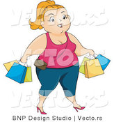 Vector of Overweight Woman Shopping and Carrying Bags by BNP Design Studio