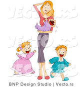 Vector of Overwhelmed Mother Holding Crying Baby While Son and Daughter Run Around Playing by BNP Design Studio