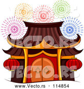 Vector of Pagoda During Firework Show by BNP Design Studio