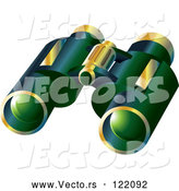 Vector of Pair of 3d Green and Gold Binoculars by Graphics RF