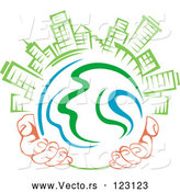 Vector of Pair of Hands Holding a Globe with Green Skyscrapers on Top 1 by Vector Tradition SM