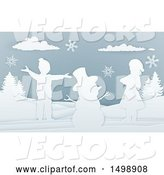 Vector of Paper Art Styled Snowman and Children in the Snow by AtStockIllustration