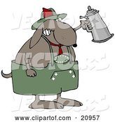 Vector of Partying Dog Drinking a Beer from a Setin at Oktoberfest by Djart