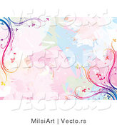 Vector of Pastel Watercolors with Rainbow Vines Background Design by MilsiArt