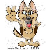 Vector of Peaceful German Shepherd Dog Smiling and Gesturing the Peace Sign with His Hand by Dennis Holmes Designs