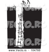 Vector of People Climbing a Ladder from a Deep Hole - Black and White Woodcut Theme by Xunantunich