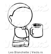 Vector of Person Holding a Cup of Coffee - Coloring Page Outlined Art by Leo Blanchette