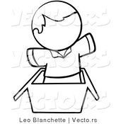 Vector of Person Jumping out of a Box - Coloring Page Outlined Art by Leo Blanchette