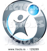 Vector of Person Reaching up to a Blue Ball in a Circle by Beboy