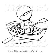 Vector of Person Rowing a Chinese Boat - Coloring Page Outlined Art by Leo Blanchette
