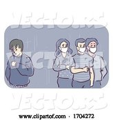 Vector of Person Sneezing in Public Around Three People Wearing Medical Masks by BNP Design Studio