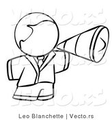 Vector of Person Using a Megaphone - Coloring Page Outlined Art by Leo Blanchette