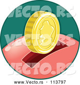 Vector of Piggy Bank in a Green Circle by BNP Design Studio