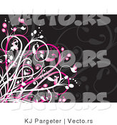 Vector of Pink and Black Floral Vines Background by KJ Pargeter