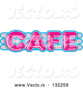 Vector of Pink and Blue Cafe Sign Text by Andy Nortnik