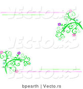 Vector of Pink and Green Lines Bordering Vines with Flowers by Bpearth