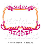 Vector of Pink and Orange Floral Frame with Blank Copyspace by Cherie Reve