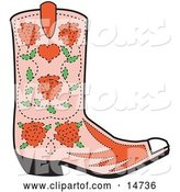 Vector of Pink Cowgirl Boot with a Pattern of Red Roses by Andy Nortnik