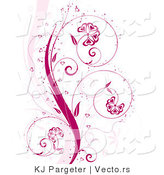 Vector of Pink Curling Floral Vines with Flowers, Sparkles and Love Hearts by KJ Pargeter