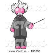 Vector of Pink Guy Depicted As Albert Einstein Holding a Pointer Stick by Leo Blanchette