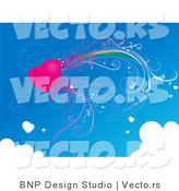 Vector of Pink Heart with Vines in a Blue Sky Bordered with Clouds by BNP Design Studio