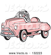Vector of Pink Metal Pedal Convertible Toy Car by Andy Nortnik