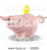 Vector of Pink Pig Bank by AtStockIllustration
