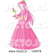 Vector of Pink Princess Holding a Rose by Pushkin