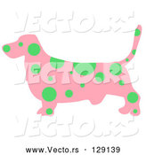 Vector of Pink Profiled Basset Hound Dog with Green Spots by Prawny