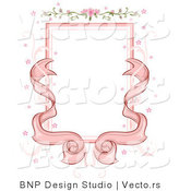 Vector of Pink Ribbons with Floral Wedding Background Frame Design by BNP Design Studio