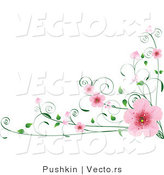 Vector of Pink Spring Blossoms on Vines - Digital Border Design by Pushkin