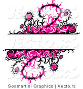 Vector of Pink Thistle Vines and Flowers with Blank Copy Space Background by Vector Tradition SM