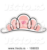 Vector of Pink Tiara with a Heart by BNP Design Studio