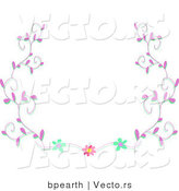 Vector of Pink Vines and Flowers - Background Border Design Element by Bpearth
