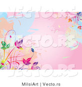 Vector of Pink Watercolors Background with Colorful Vines by MilsiArt