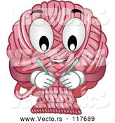 Vector of Pink Yarn Mascot with Double Point Needles by BNP Design Studio