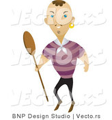 Vector of Pirate Carrying a Wood Boat Paddle by BNP Design Studio