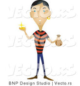Vector of Pirate Holding Gold Coins and a Full Bag by BNP Design Studio