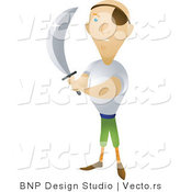 Vector of Pirate Holding Sharp Sword by BNP Design Studio