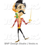 Vector of Pirate with Sword and Parrot by BNP Design Studio